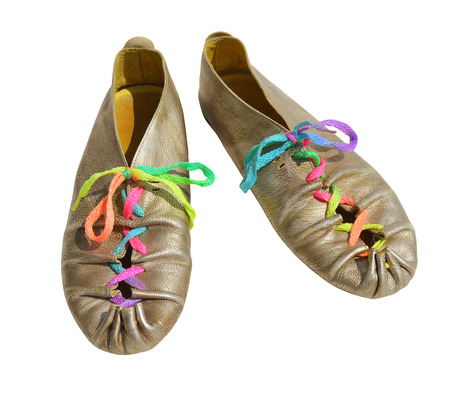 shoelaces: Silver ladies shoes with multicolored shoelaces