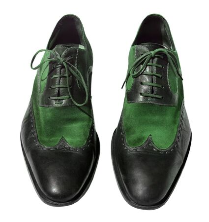 genuine leather: Green men genuine leather shoes
