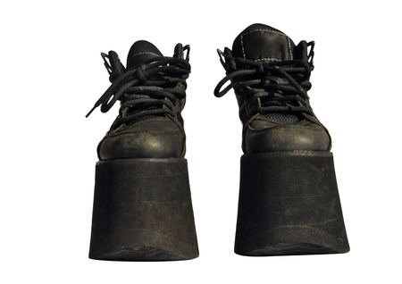 female soles: Ladies black genuine leather boots platform Stock Photo