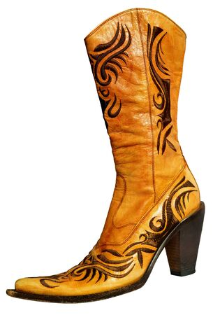 genuine: Ladies floral caramel genuine leather boots