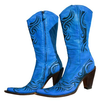 genuine leather: Ladies floral blue genuine leather boots