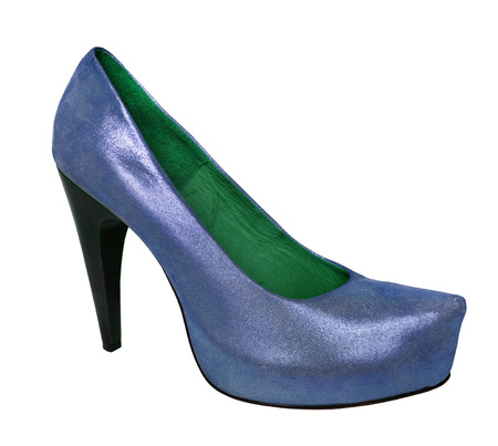 fetish wear: Ladies blue shoes from genuine leather and high heel