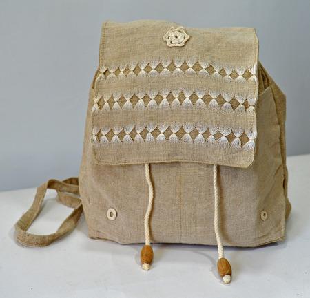 holdall: Retro handmade natural flax backpack Stock Photo