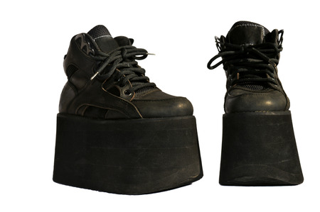 gothic fetish: Ladies black genuine leather boots platform Stock Photo
