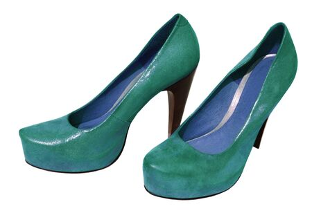 fetish wear: Ladies green shoes from genuine leather and high heel