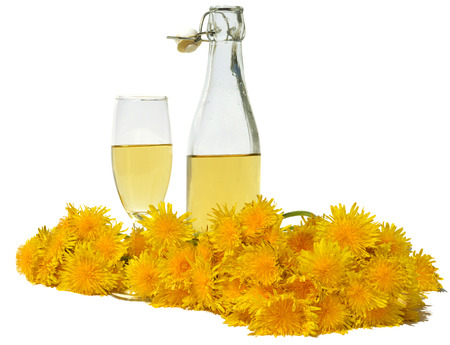 dandelion: Dandelion Wine in glass and bottle
