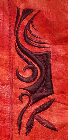 genuine leather: Genuine leather red floral background
