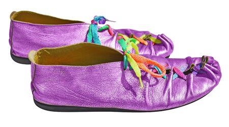 shoelaces: Purple ladies shoes with multicolored shoelaces