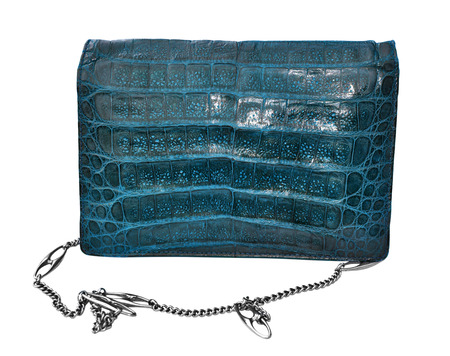 genuine: Blue crocodile genuine leather handbag Stock Photo
