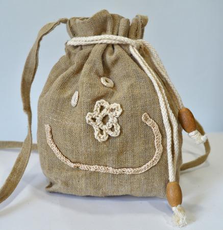 gunny: Retro handmade natural flax purse