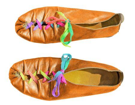 shoelaces: Orange ladies shoes with multicolored shoelaces