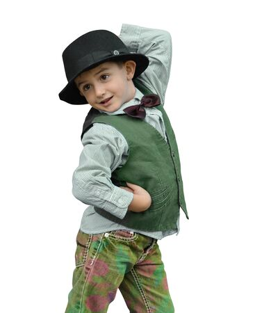 expresses: Child dancing on a white background Stock Photo