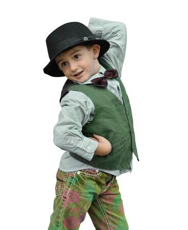 exhilaration: Child dancing on a white background Stock Photo