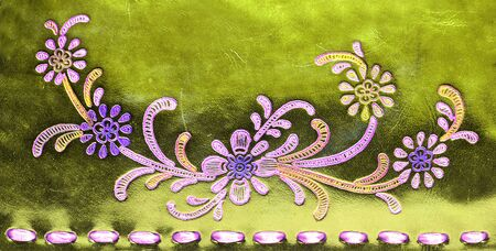 genuine: Texture from golden genuine leather with flowers