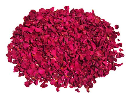 rosas rojas: Pile of dried red roses on a white background