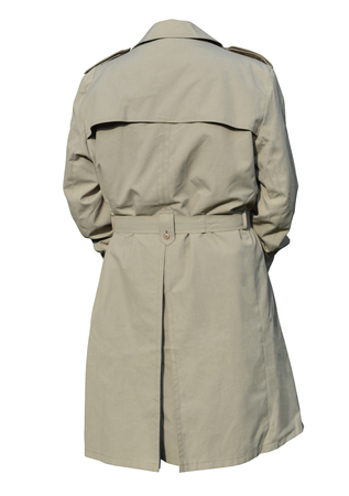moda ropa: Male trench coat on a white background