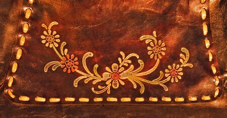 genuine leather: Texture from genuine leather with flowers