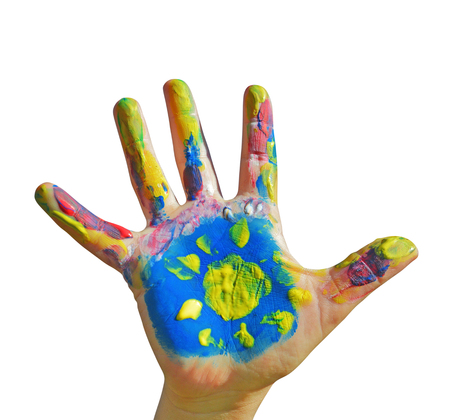 kids painted hands: Painted kid hand with sun on a white background