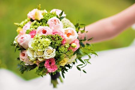 wedding bouquet, bridal bouquet, beautiful bouquet of different colors 스톡 콘텐츠