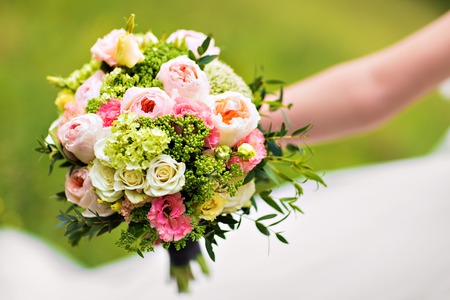 winter wedding: wedding bouquet, bridal bouquet, beautiful bouquet of different colors Stock Photo