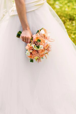 wedding bouquet, bridal bouquet, beautiful bouquet of different colors 写真素材