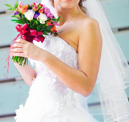 wedding dress: wedding bouquet, bridal bouquet, beautiful bouquet of different colors Stock Photo