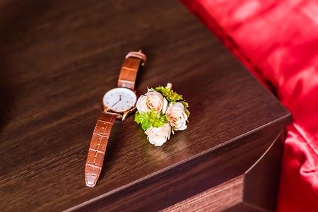 luxury watch: Luxury watch, chronograph closeup, beautifull white boutonniere