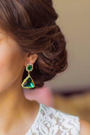 diamond earrings: Pair of diamond earrings, wedding, brides accessories