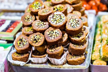 Spice Bazaar in Istanbul. Tea, herbs and spices. baklava