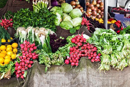 eating healthy: Fresh and organic vegetables at farmers market Stock Photo