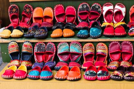 bazaar: Turkish leather slipper, shoott on bazaar in Istanbul