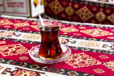 r: delicious turkish tea in traditional glass cup Stock Photo