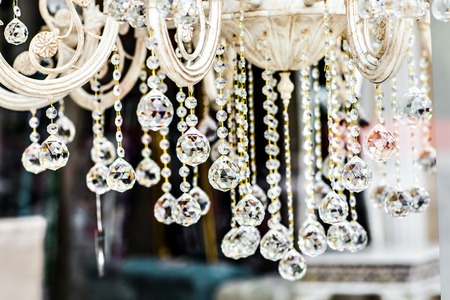 chandelier: Luxury Crystal Chandelier. Close up on the crystal of a contemporary crystal decoration.