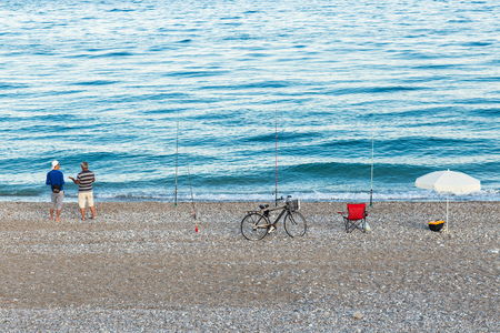 istanbul beach: fisherman in  istanbul  on the beach of the Bosphorus