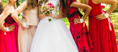 4 5 year old: Beautiful Bride With Bridesmaids On Wedding Day