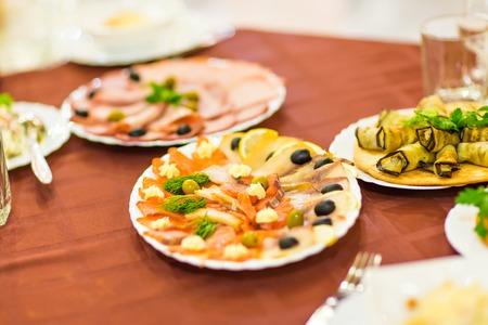 plating: Salmon seshimi . traditional japanese food at the wedding dinner Stock Photo