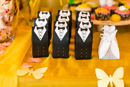 white sugar: Wedding  bonbonniere for guest at the wedding Stock Photo