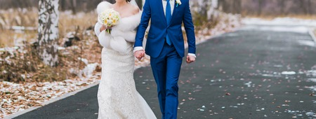 Beautiful wedding couple walk together. Wedding day