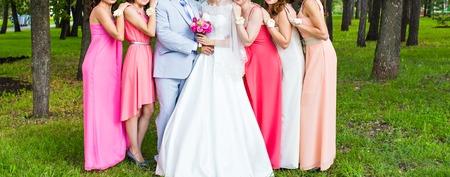 bridesmaid: wedding couple and  guests , groomsman and  bridesmaid