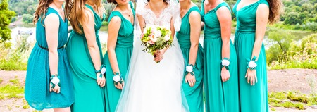 4 5 year old: Beautiful bride With Bridesmaids On Wedding Day Stock Photo