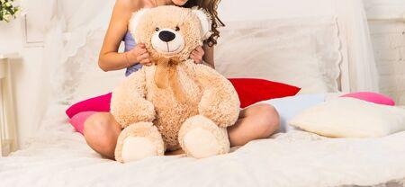 teddy: beautiful young girl with big teddy bear