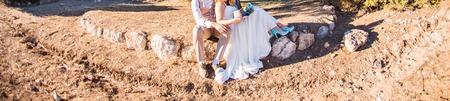 happy wedding: Happy bride and groom on their wedding Stock Photo