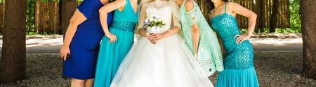 bridesmaids: Close up of bride and bridesmaids. Beautiful girls