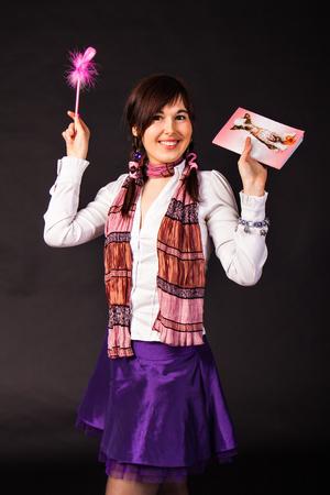 crazy girl: funny crazy  girl student. Very cheerful schoolgirl