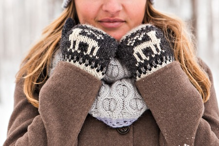 natural ice pastime: winter mittens. beautiful cozy warm winter clothing