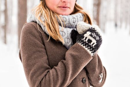 warm clothing: winter mittens. beautiful cozy warm winter clothing