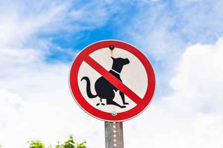 pooping: no dog excrements sign at a front yard. Stock Photo