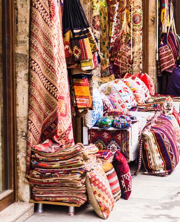 oriental cushions.Textiles in the bazaar in Istanbul