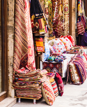 oriental cushions.Textiles in the bazaar in Istanbul