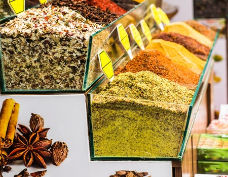 teas: Spices and teas on the Egyptian market in Istanbul.